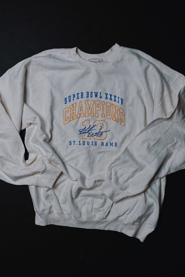 (L) 2000 Super Bowl Champions St. Louis Rams Embroidered Sweater