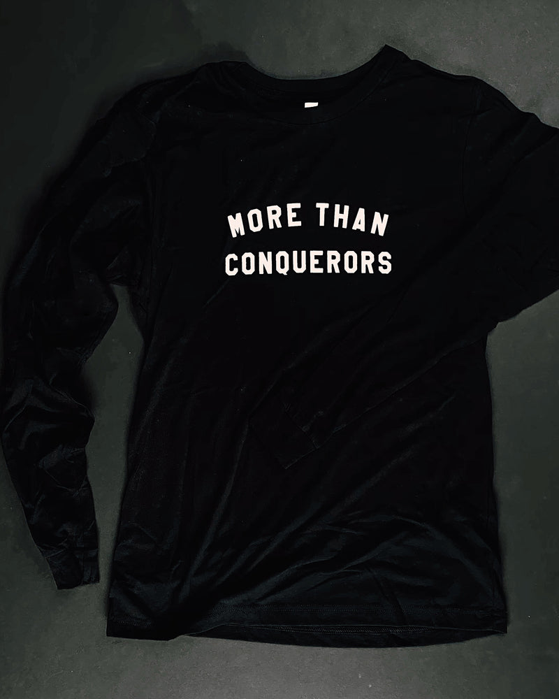 More Than Conquerors Unisex Black Long-Sleeve Shirt