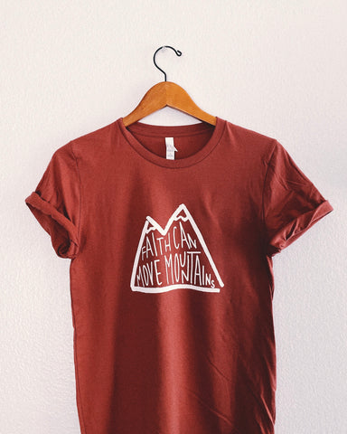 Faith Moves Mountains Tangerine Unisex T-Shirt