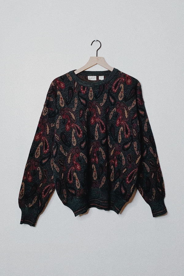 (XL) Vintage Paisley Patterned Knitted Sweater