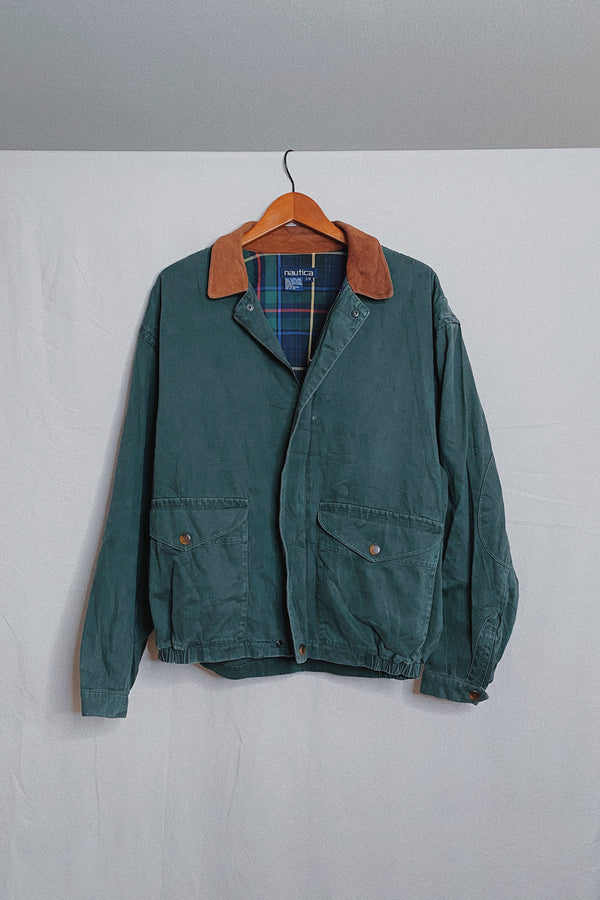 (L) Vintage Nautica Suede Collared Smoked Teal Utility Jacket