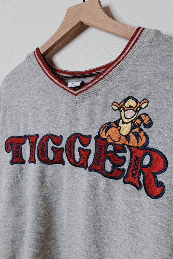 (Women's L/XL) Tigger Embroidered V-Neck Ringer Sweater