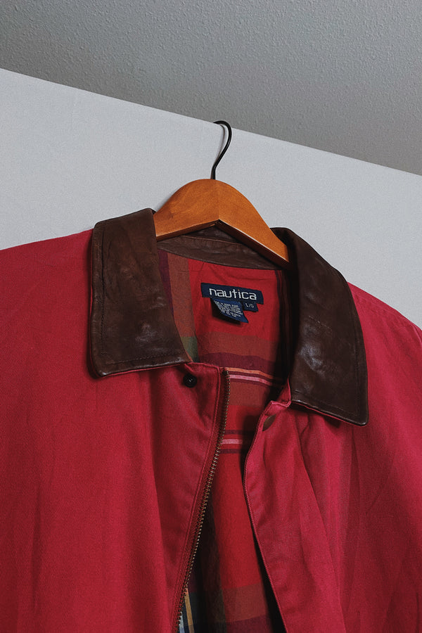 (L) Vintage Nautica Leather Collared Red Utility Jacket