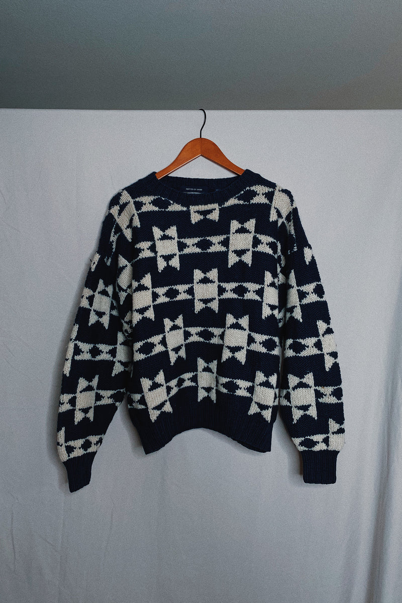 (M) Chunky Navy Blue Knitted Patterned Sweater