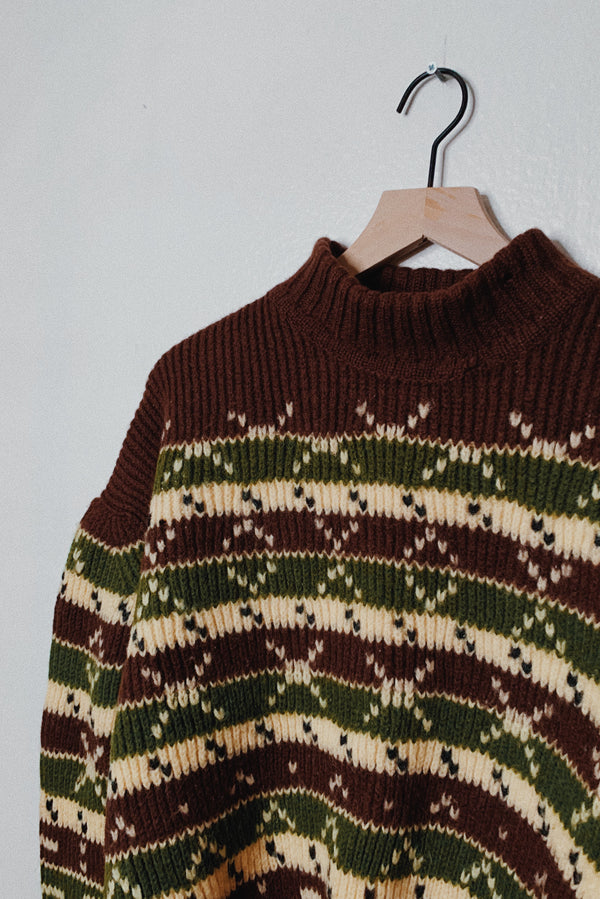 (Women's M) Mock Neck Earthy Tones Chunky Knitted Wool Sweater