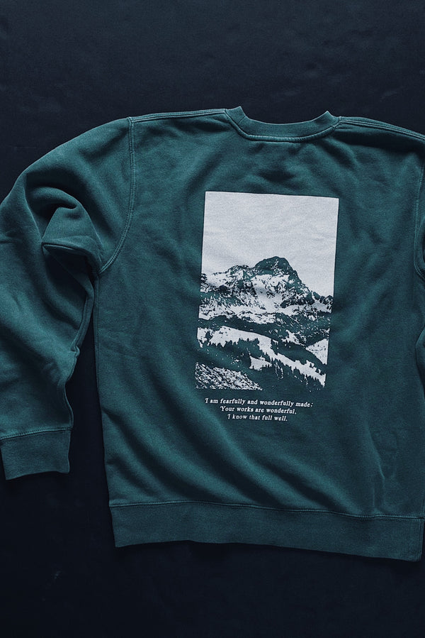 Move Mountains Dusty Teal Unisex Crewneck Sweater