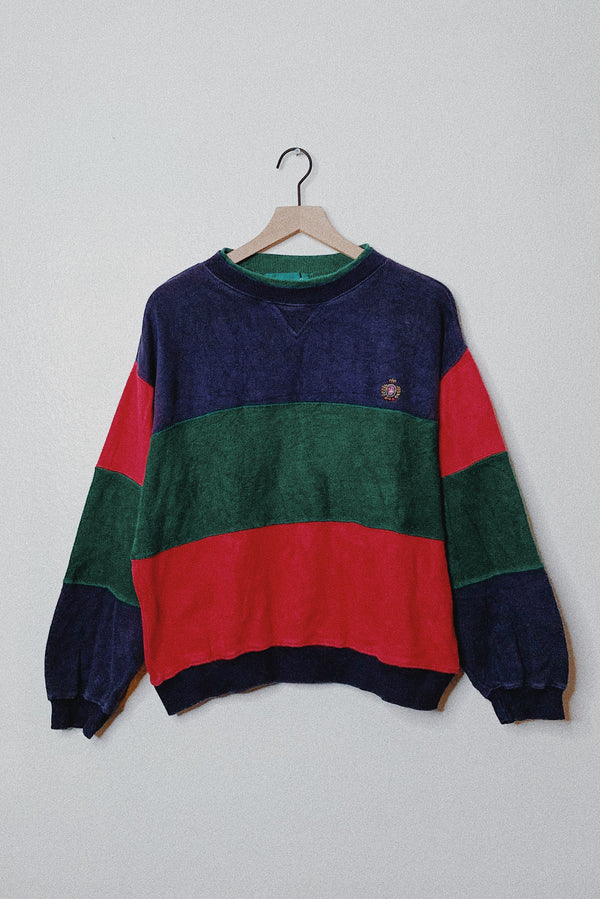 (L) Retro Color Block Sweater Pullover