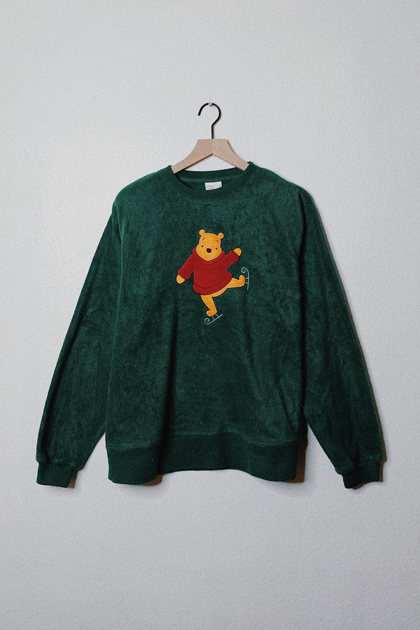 (M) Pooh Bear Skates Embroidered Fleece Sweater