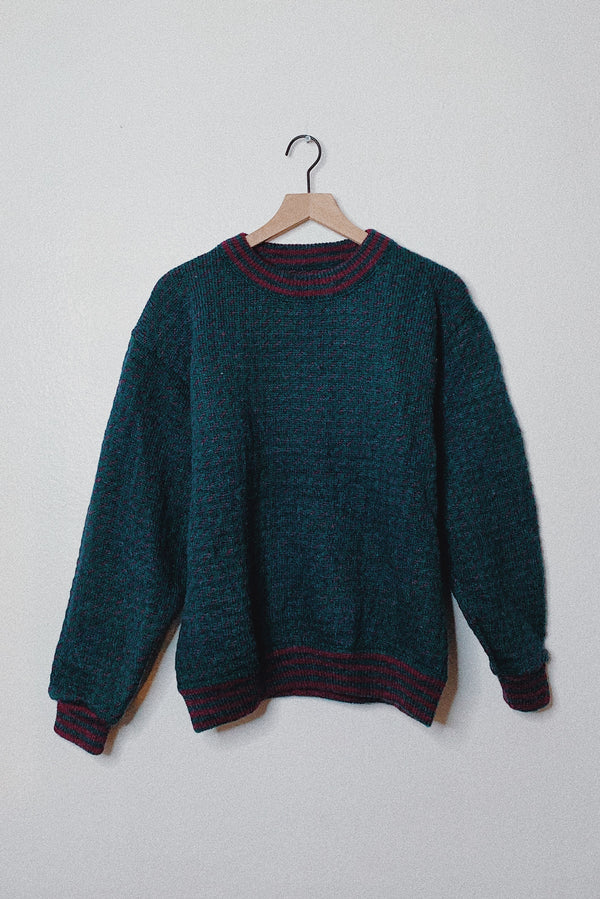 (Women's L) L.L. Bean Retro Teal With Purple Speckles Wool Sweater