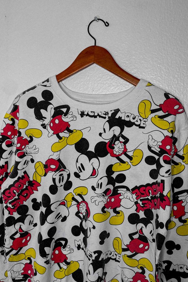 Vintage Mickey Mouse All-Over Print Long Sleeve Shirt