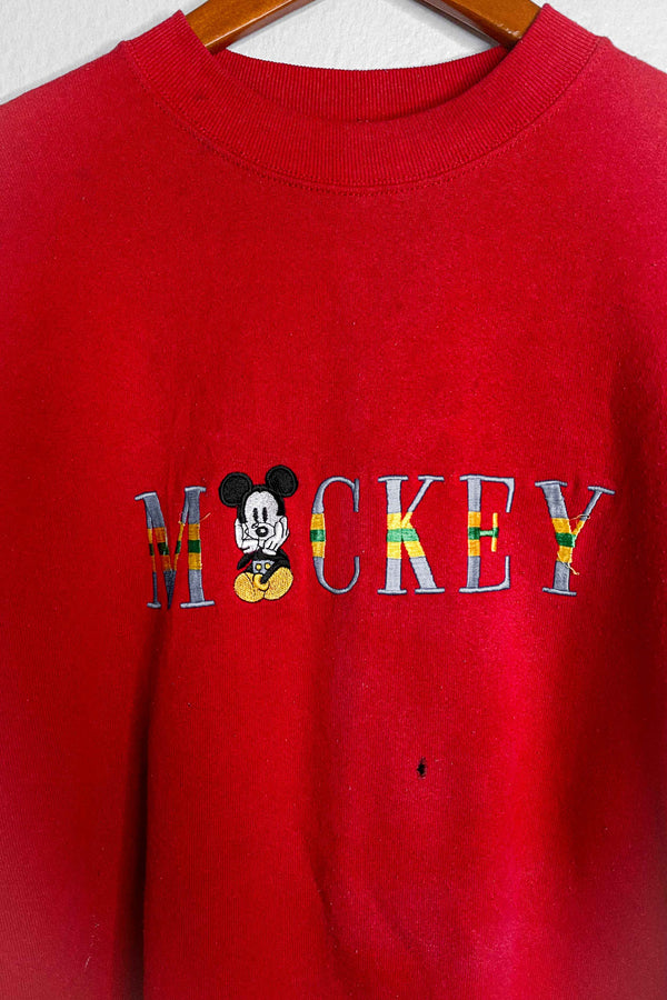 (XL) Vintage Single Stitch Mickey Embroidered Crewneck Sweater