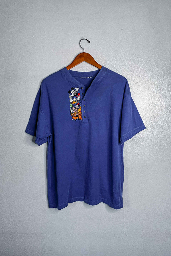 Vintage Mickey & Friends Embroidered Henley