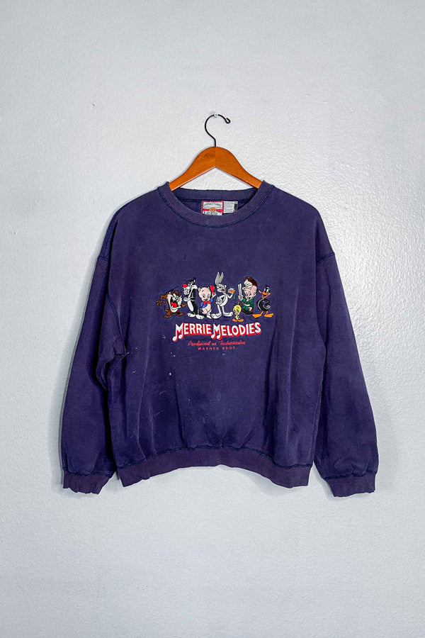 (L) Looney Tunes Merrie Melodies Embroidered Crewneck