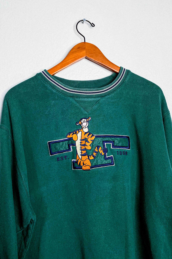 (L) Vintage Single Stitch Tigger Embroidered Ringer Sweater