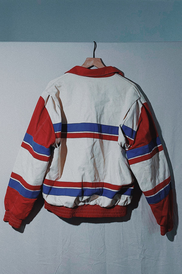 (L) 1990s Vintage Red & Blue Striped Utility Jacket