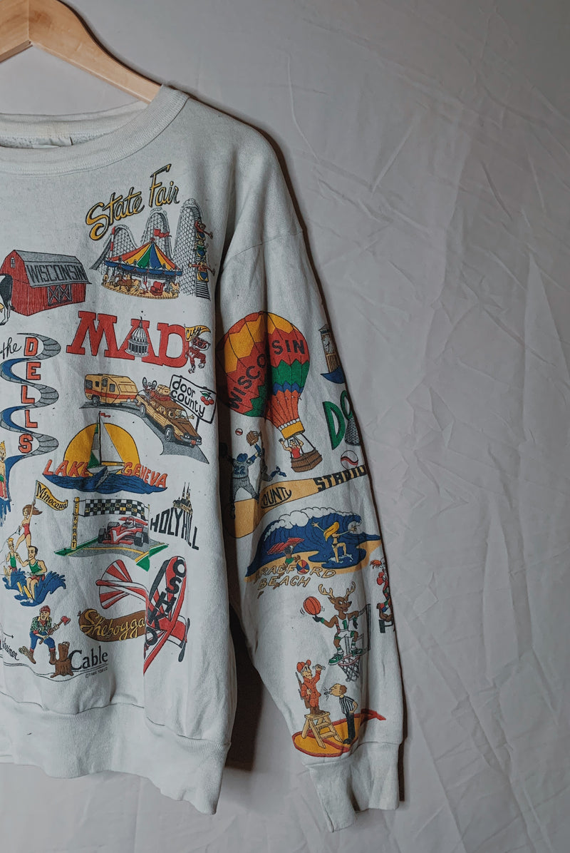 (M) Vintage Greetings from the East Coast Pullover Sweater