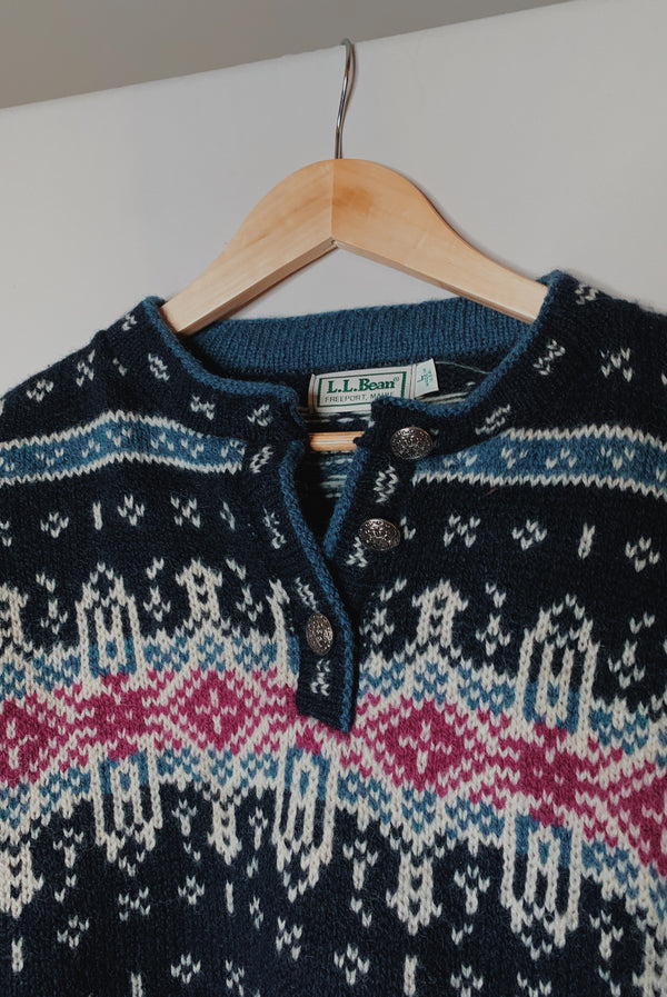 (L) Vintage L.L. Bean Fair Isle Henley Knitted Pullover Sweater