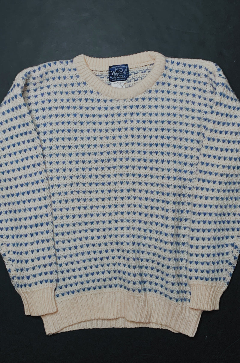 (Women's M/L) Vintage Patterned Indigo Hearts Knitted Sweater