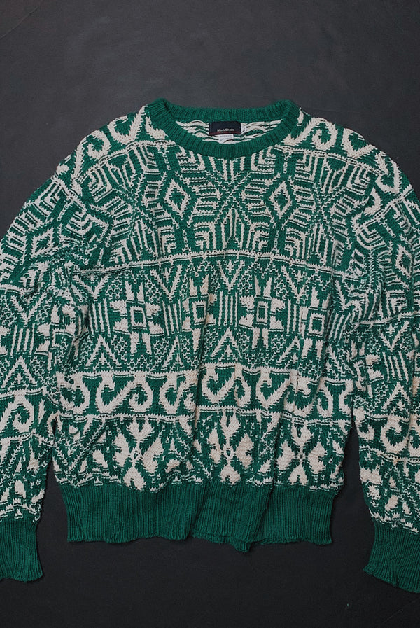(L) Vintage Emerald Green Geometric Sweater