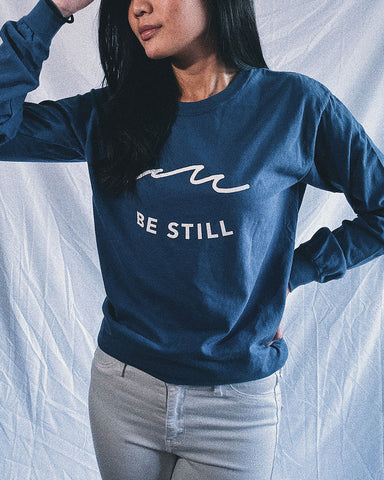 Be Still Long-Sleeve Cobalt Blue Unisex Shirt