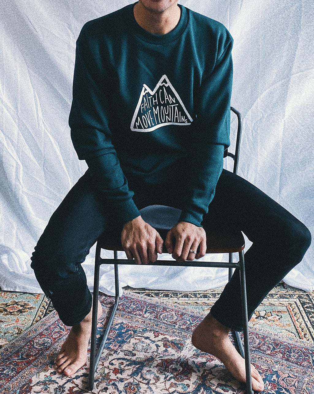 Faith Moves Mountains Unisex Pullover Crewneck Sweater