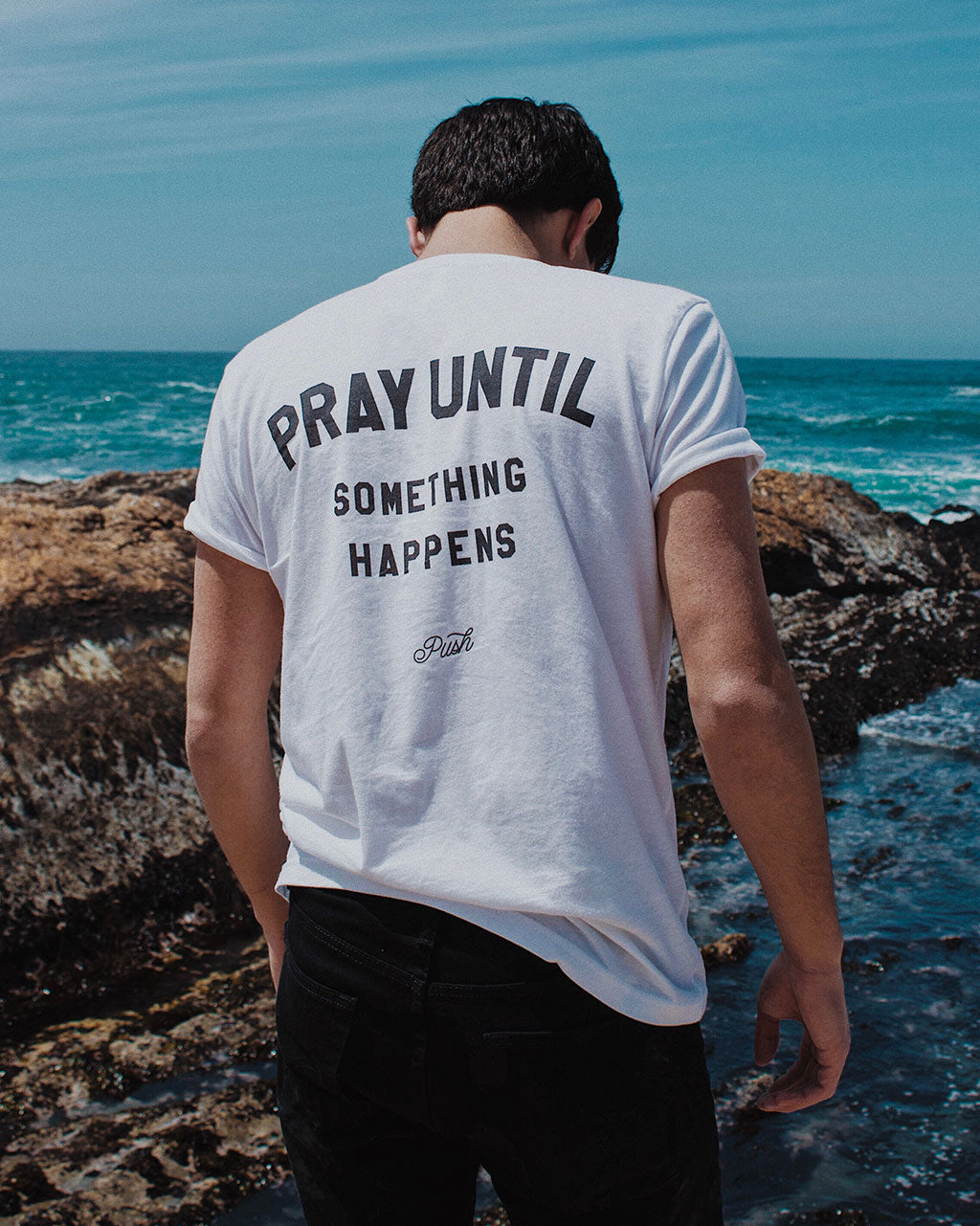 Pray Until Something Happens Unisex T-Shirt - White