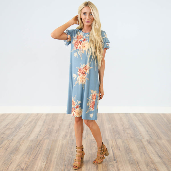 Southport Printed Dress in Dusty Blue