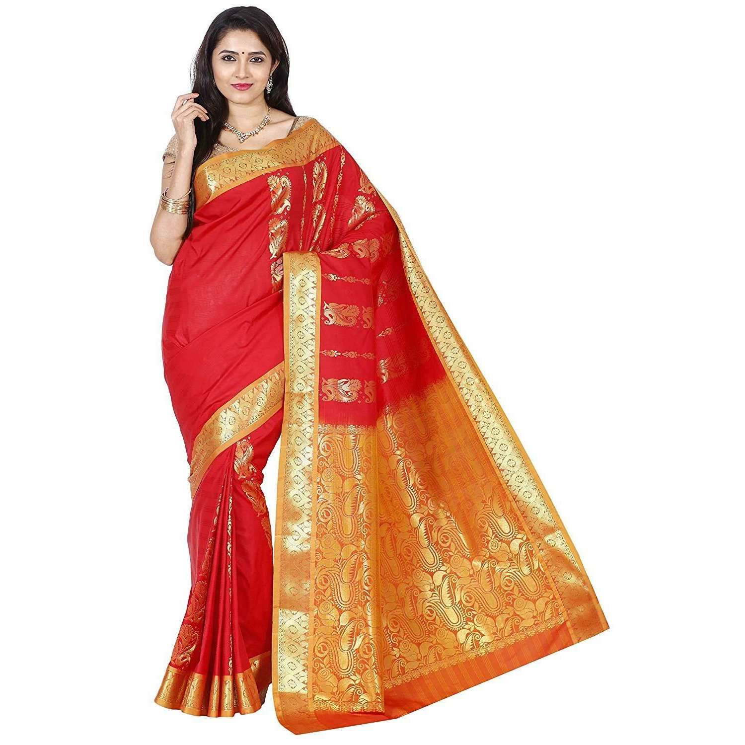 Arars Women's Kanchipuram Kanjivaram Pattu Style Artificial Plain Silk Saree With Blouse (SBB002 RED )