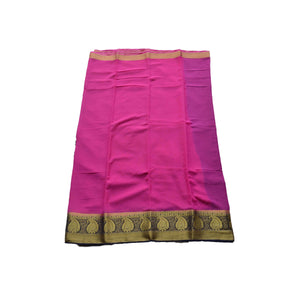 arars Women's kanchipuram kanjivaram pattu style art chiffon silk colour saree with blouse (223,rani)