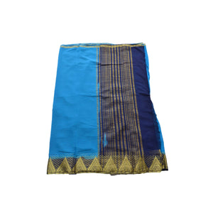 arars Women's kanchipuram kanjivaram pattu style art chiffon silk colour saree with blouse (224,blue)