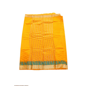 arars Women's kanchipuram kanjivaram pattu style art silk saree with blouse (246,gold)