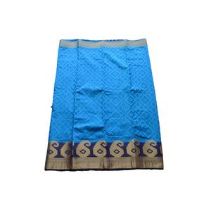 arars Women's kanchipuram kanjivaram pattu style art silk colour saree with blouse (248,blue)