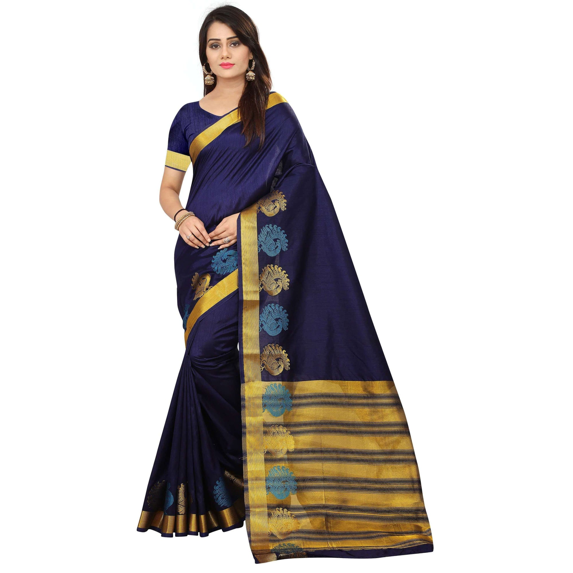 arars kanjivaram kanchipuram silk saree ( 249 RM NAVY BLUE )