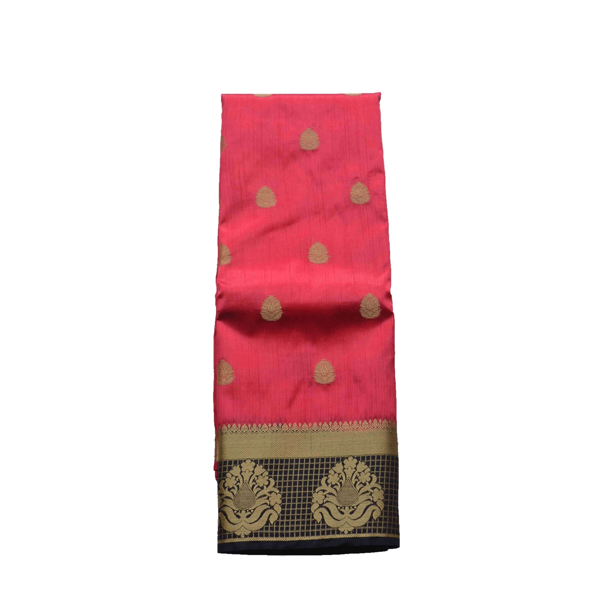 arars Women's kanchipuram kanjivaram pattu style art silk colour saree with blouse (261,strawberry)
