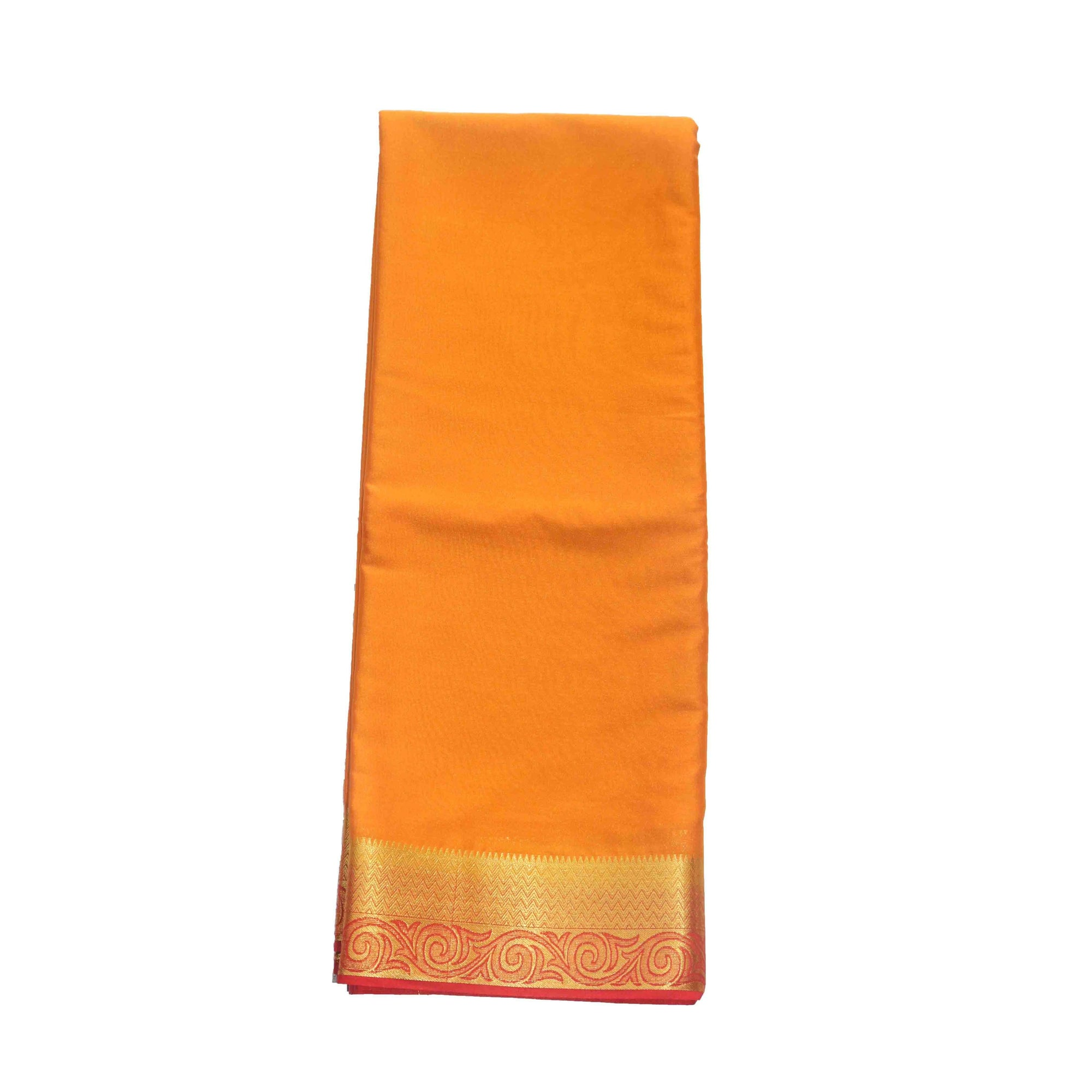 Arars Women's Kanchipuram Kanjivaram Pattu Style Mysore Crepe Plain Silk Saree With Blouse (275 MUSTARD MAROON )