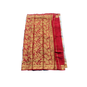 Arars Women's Kanchipuram Kanjivaram Pattu Style Chiffon  Silk Saree With Blouse (277 SF WHITE )