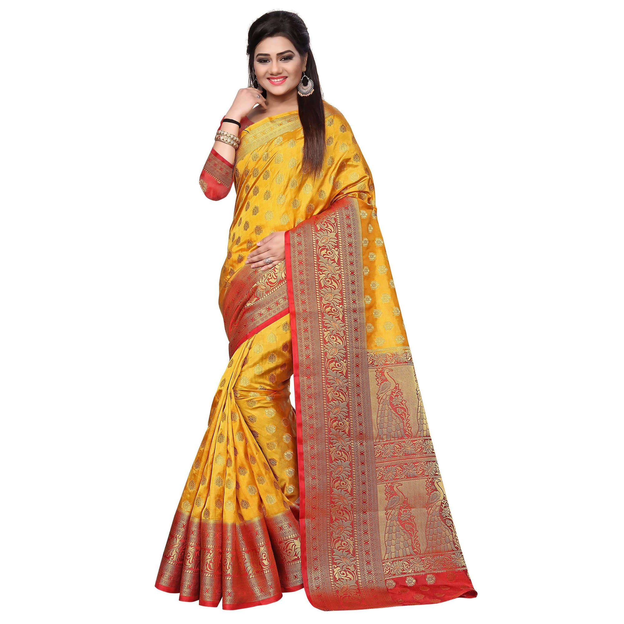 arars art silk saree kanjivaram style with designer bloue saree colour mustard (282)