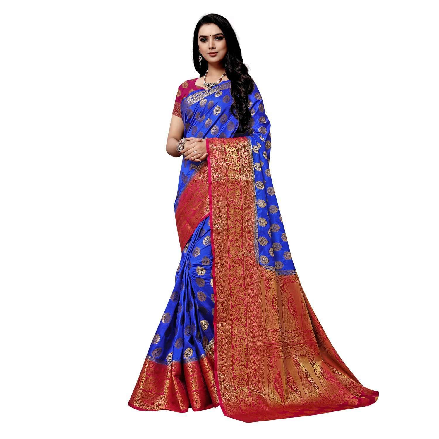 arars Women's kanchipuram kanjivaram pattu style art silk saree with blouse (282,royal blue)