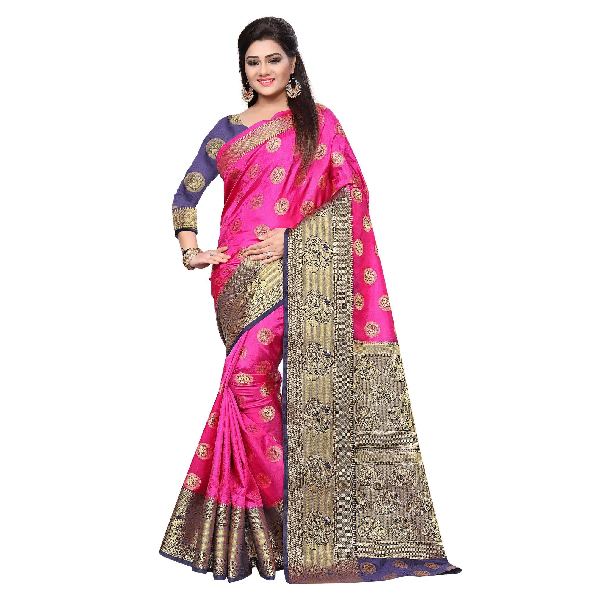arars art silk saree kanjivaram style with designer bloue saree colour pink (283)