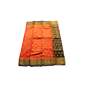 arars Women's kanchipuram kanjivaram pattu style art silk colour saree with blouse (285 ORANGE)