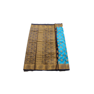 arars Women's kanchipuram kanjivaram pattu style art silk colour saree with blouse (286 BLUE)