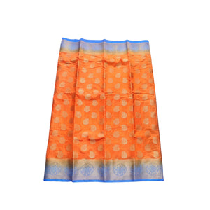 arars Women's kanchipuram kanjivaram pattu style art silk saree with blouse (286,orange)