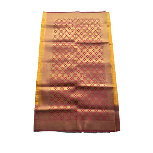 arars Women's kanchipuram kanjivaram pattu style art silk colour saree with blouse (293,mustard)
