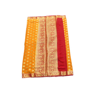 arars Women's kanchipuram kanjivaram pattu style mysore chiffon silk saree with blouse (301,mustard)