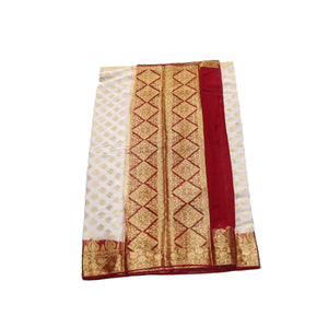 arars Women's kanchipuram kanjivaram pattu style mysore chiffon silk saree with blouse (303,white)