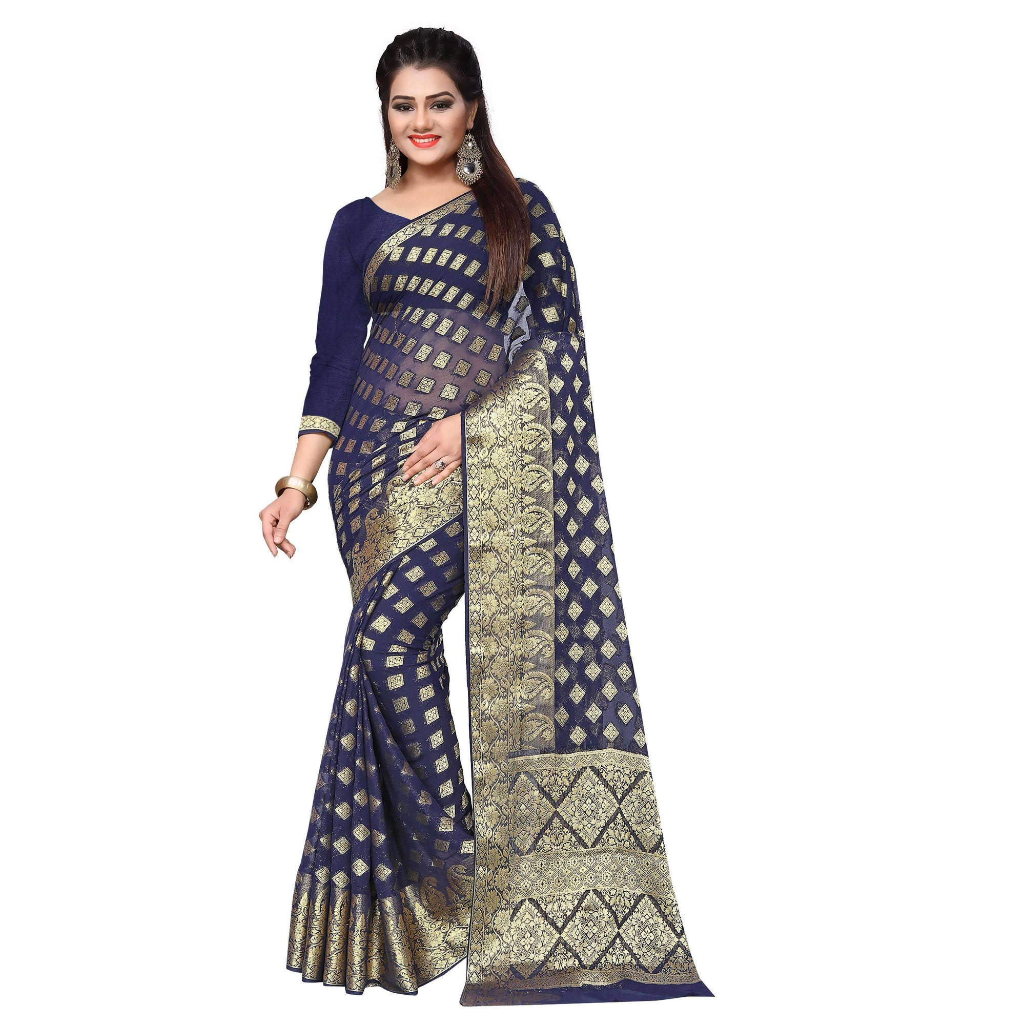 arars chiffon silk saree kanjivaram style colour navy blue (305)