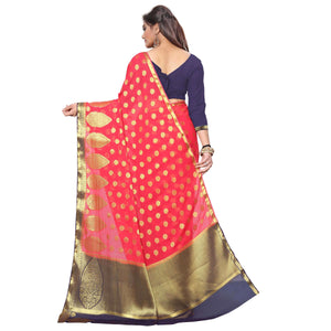 arars chiffon silk saree kanjivaram style colour strawberry (306)