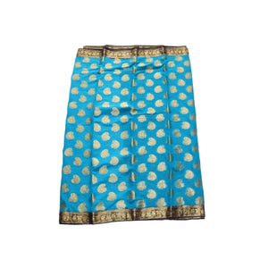 arars Women's kanchipuram kanjivaram pattu style mysore chiffon silk saree with blouse (309,blue)