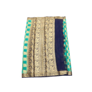 arars Women's kanchipuram kanjivaram pattu style mysore chiffon silk saree with blouse (313,rama)
