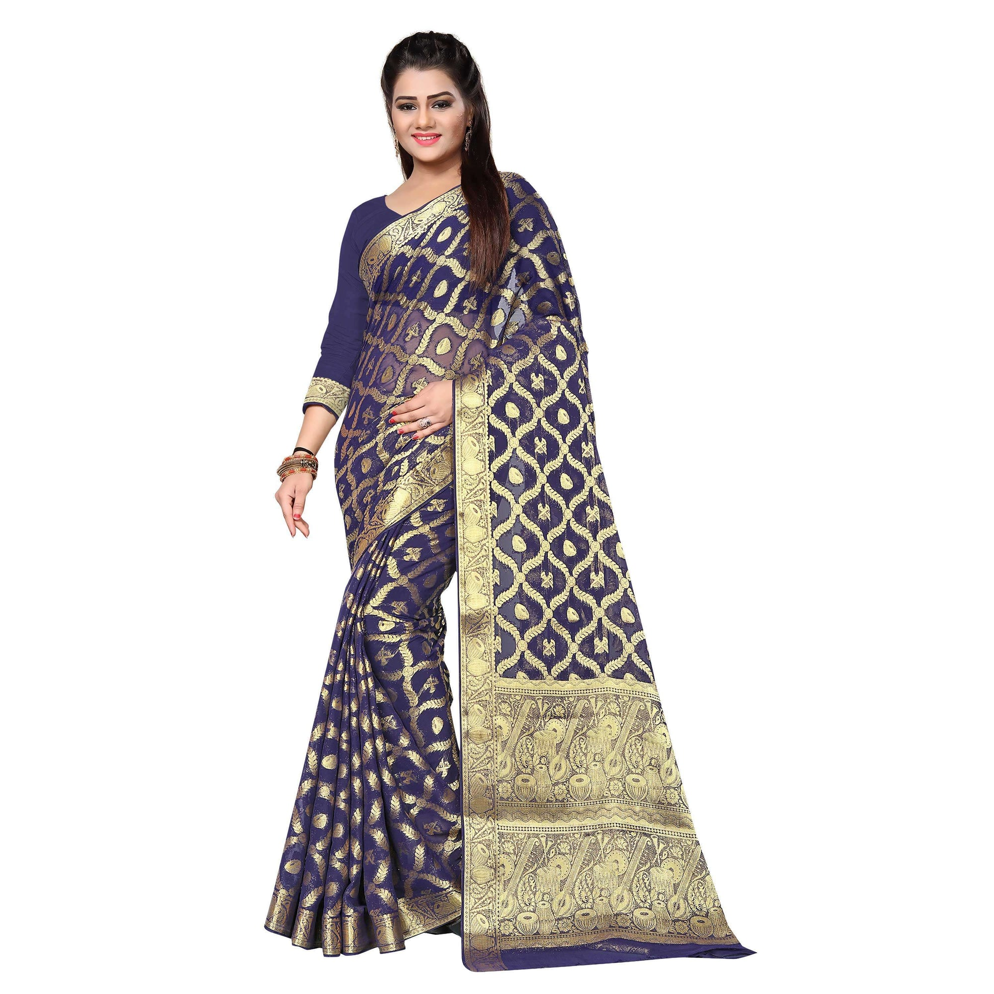 arars chiffon silk saree kanjivaram style colour navy blue (314)